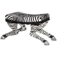 Pair of French Art Deco Carved and Painted Wood Zebra Stools, Possibly by Jansen