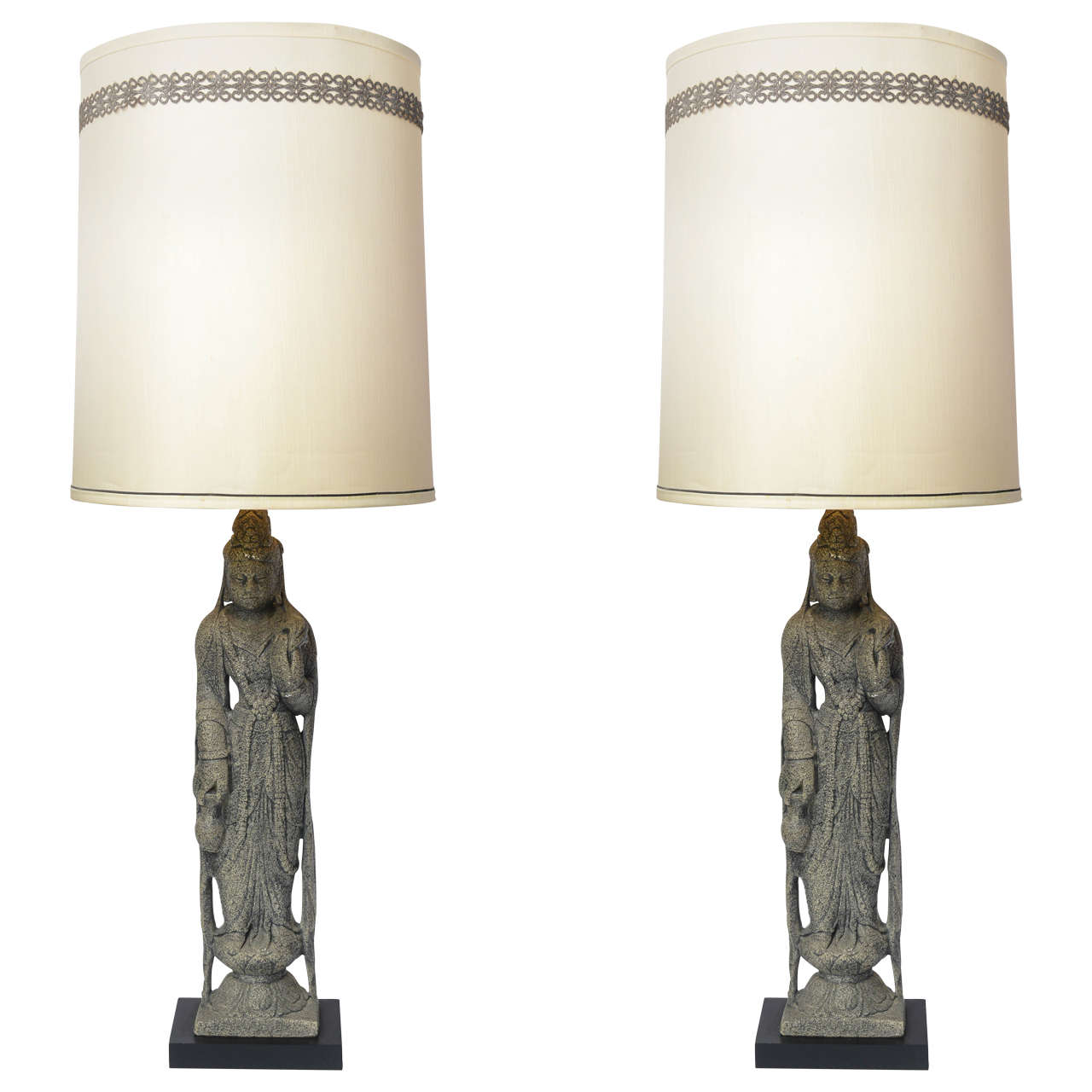 Pair of Vintage Antiqued Kwan Yin Statue Table Lamps For Sale at 1stdibs