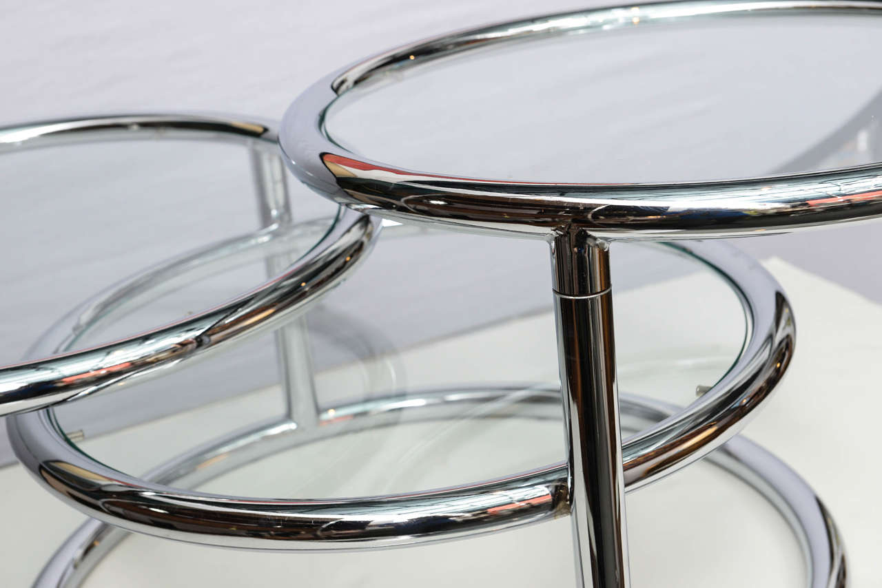 20th Century Milo Baughman Style Swivel Tiered Circles Coffee Table For Sale