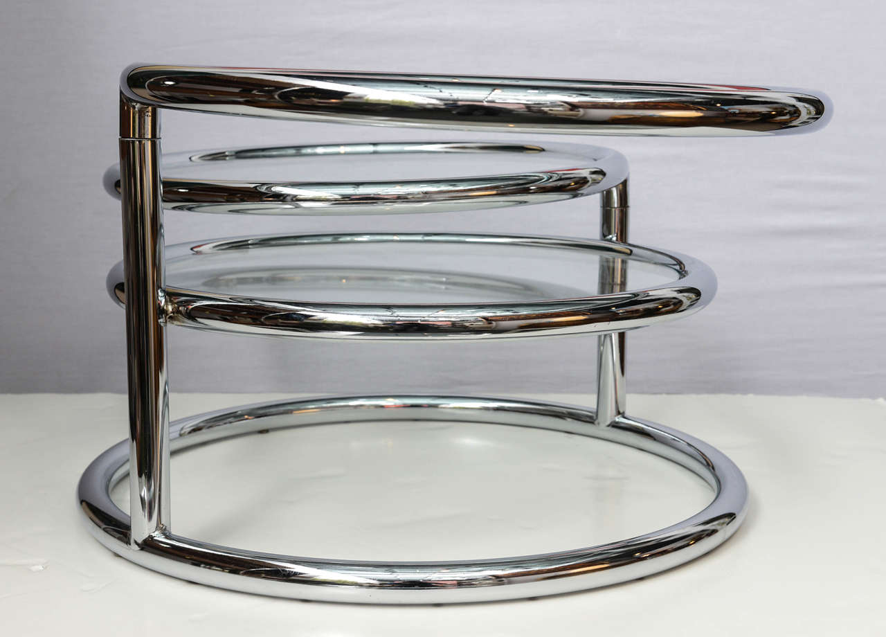 Milo Baughman Style Swivel Tiered Circles Coffee Table For Sale 1