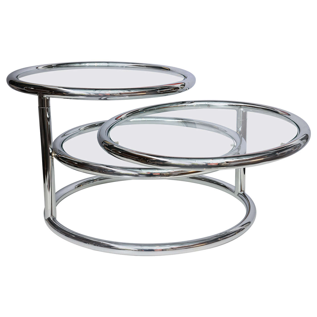 Milo Baughman Style Swivel Tiered Circles Coffee Table For Sale