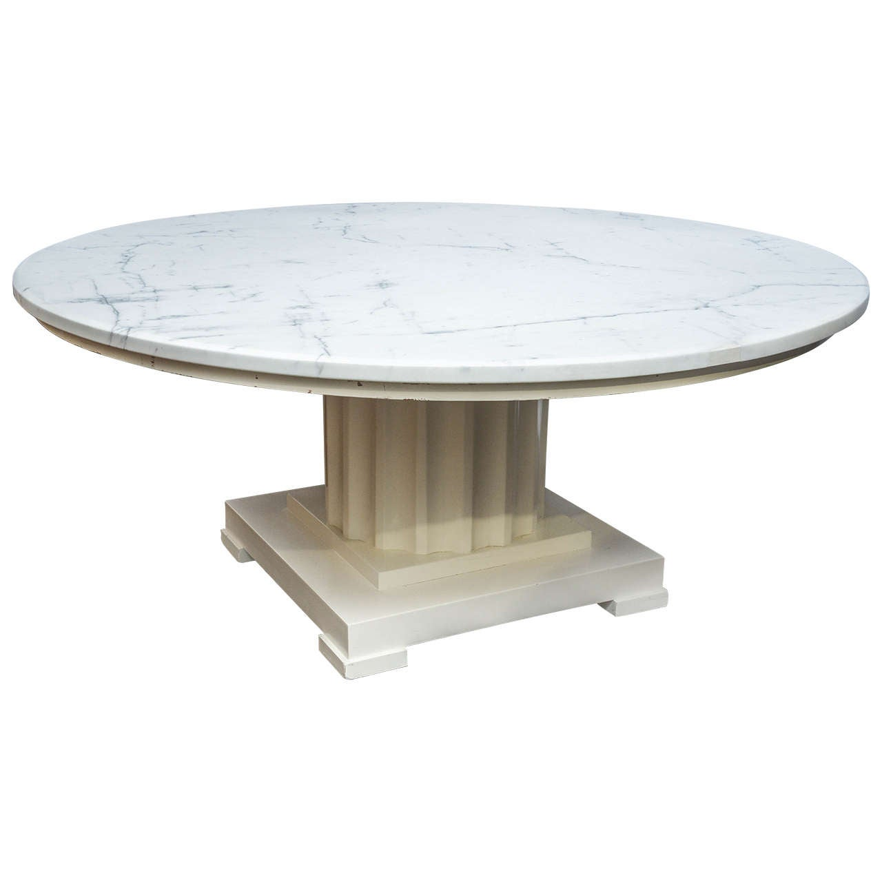 Vintage Neoclassic Round Marble Coffee Table At 1stdibs