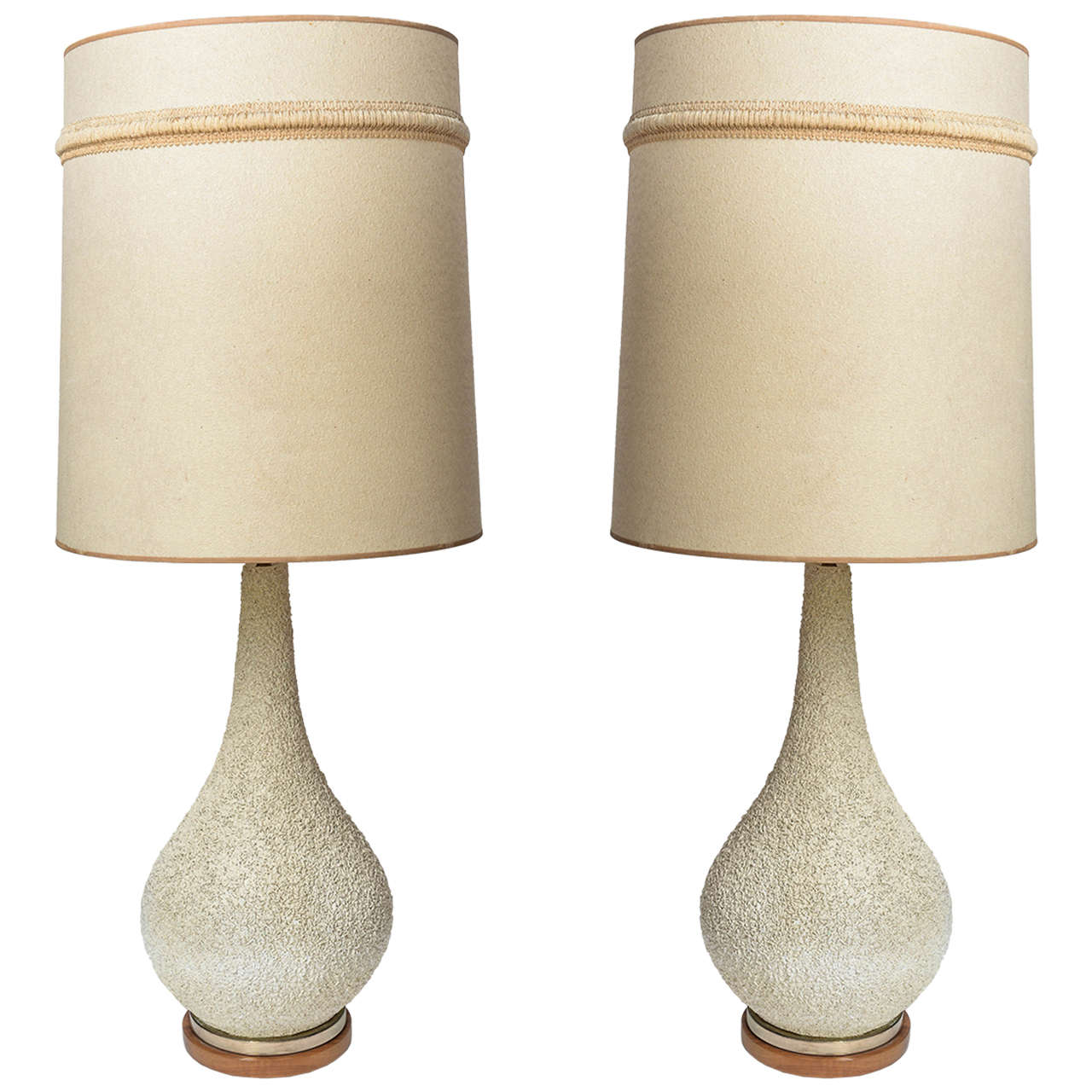 tall pair of midcentury modern danish style pottery textured  - tall pair of midcentury modern danish style pottery textured lamps