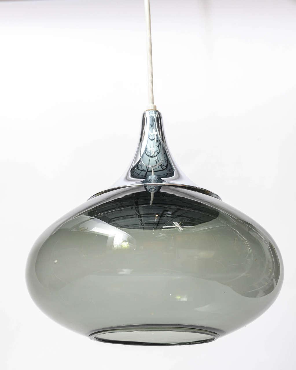 1960s Chrome And Smoked Glass Teardrop Pendant Lamp At 1stdibs