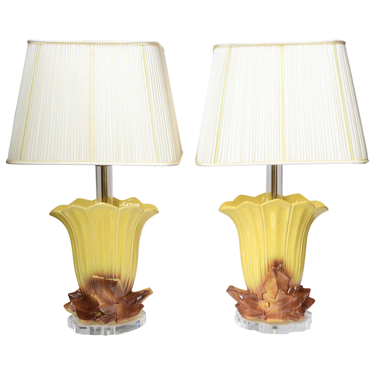 Pair of 1970s Ceramic and Lucite Table Lamps