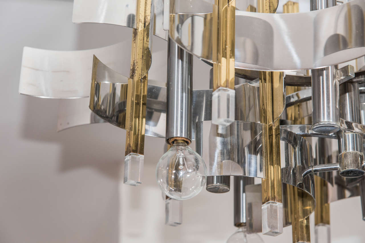Mid Century Modern Metal and Lucite Chandelier By Gaetano Sciolari – Modern Metal Chandelier