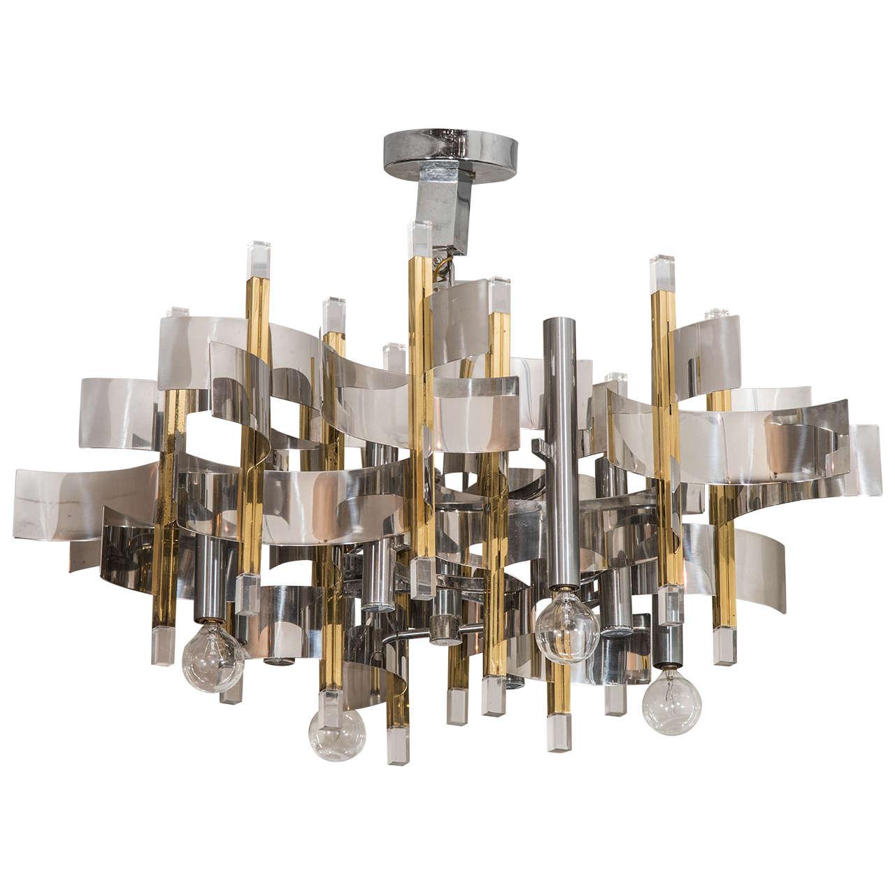 Modern Metal Chandelier: Mid Century Modern Metal and Lucite Chandelier By Gaetano Sciolari 1,Lighting
