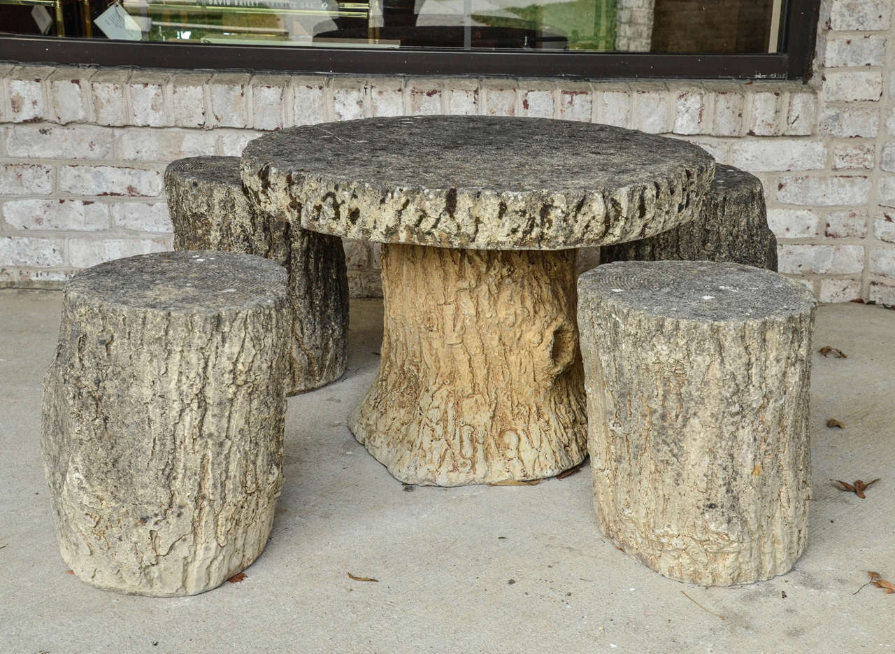 1920s French Set Of Fois Bois Concrete Table And Four Stools 2