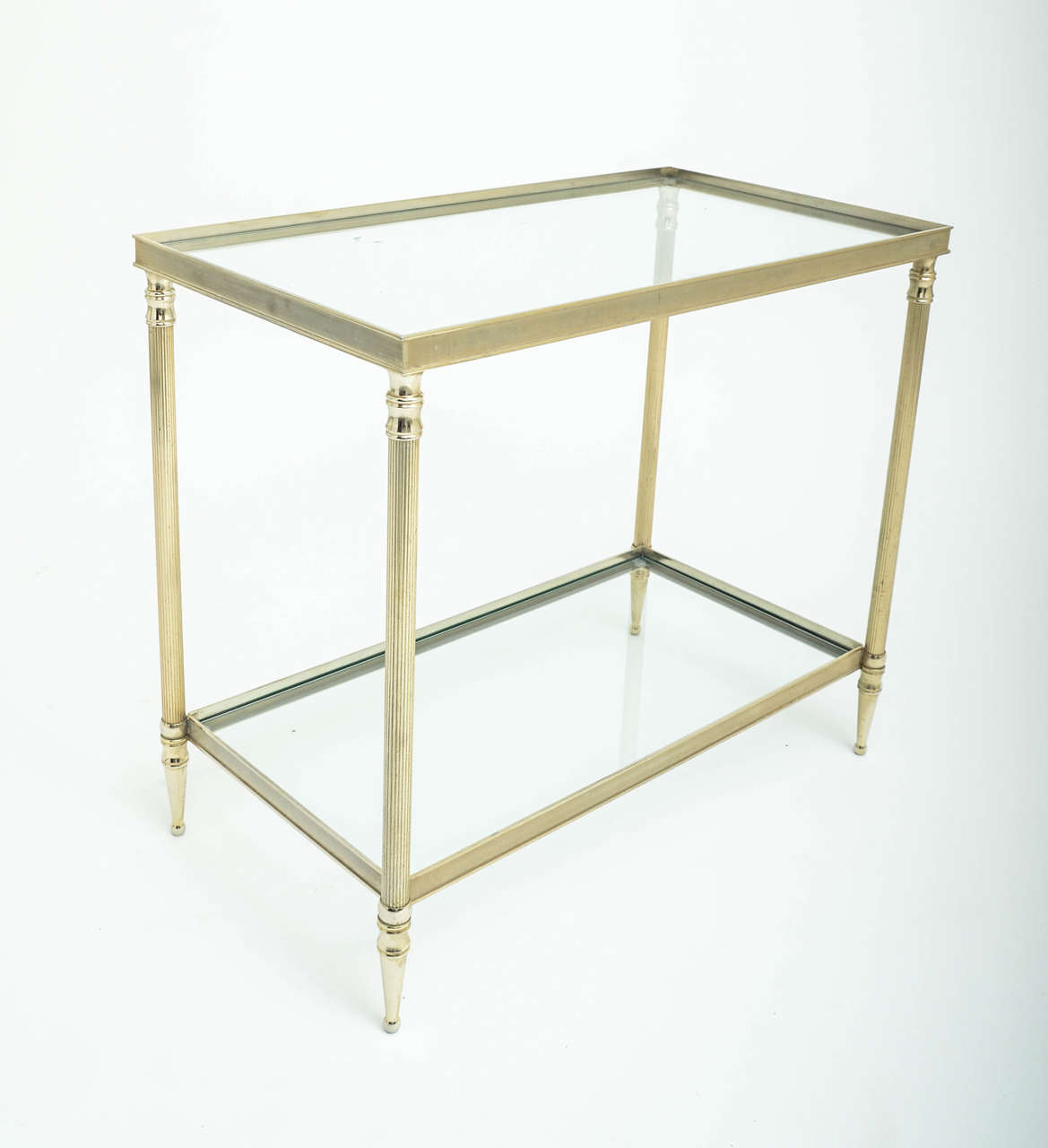 mid century modern french brass and glass two tier side table for
