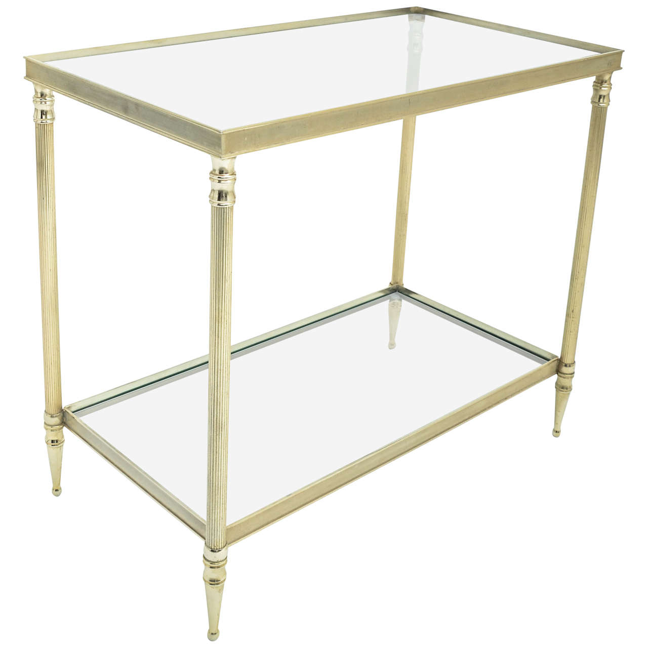 MidCentury Modern French Brass And Glass TwoTier Side Table For - Two tier glass side table
