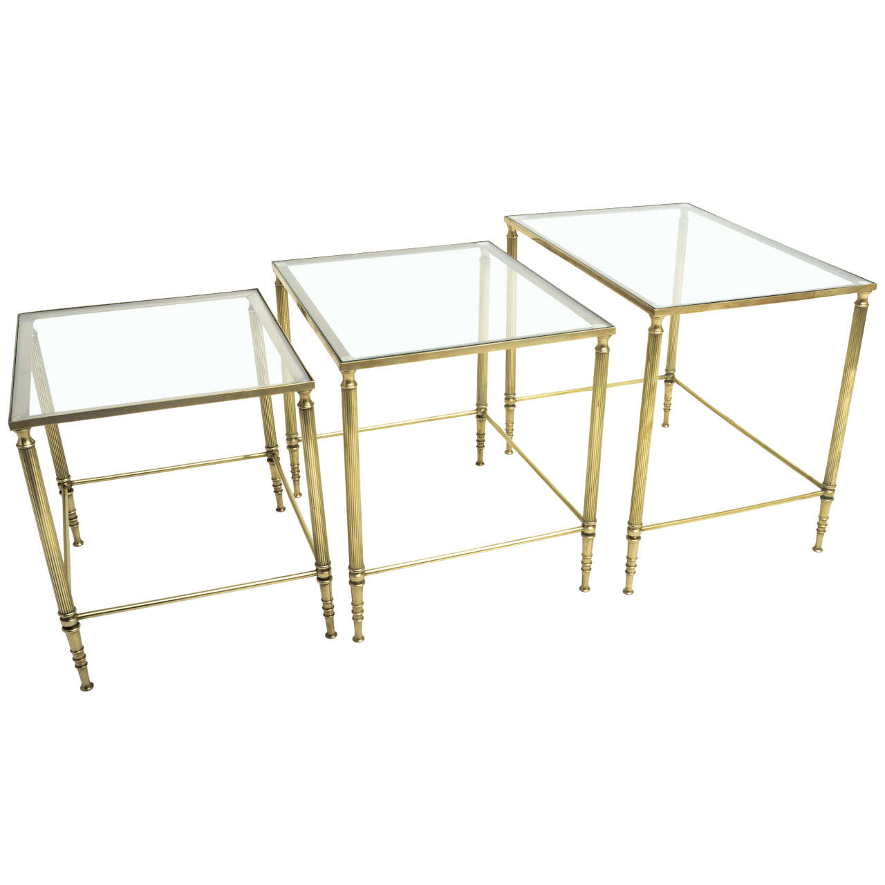 Mid century modern french brass and glass nesting tables at 1stdibs mid century modern french brass and glass nesting tables for sale watchthetrailerfo