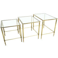 Mid Century Modern French Brass And Glass Nesting Tables