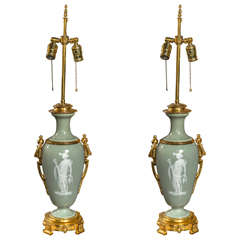 Vintage Pair of Pate-Sur-Pate Table Lamps