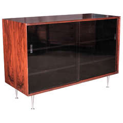 George Nelson Rosewood Thin Edge Sideboard with Black, Glass Doors, 1950s