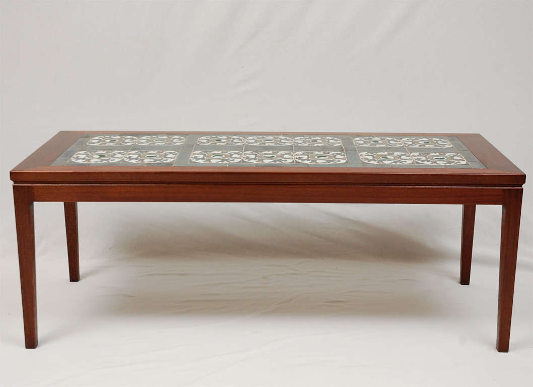Danish Tile Top Coffee Table At 1stdibs