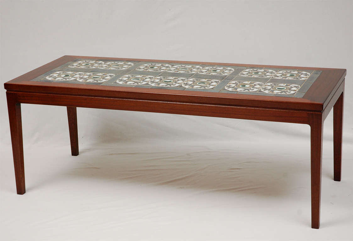 Danish tile top coffee table at 1stdibs for Top coffee tables