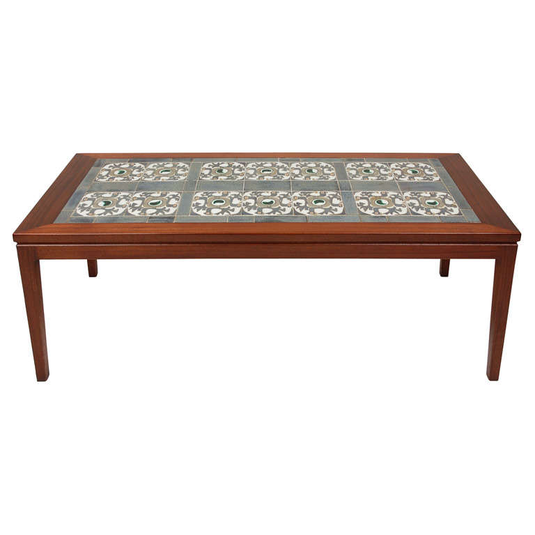 danish tile top coffee table at 1stdibs. Black Bedroom Furniture Sets. Home Design Ideas