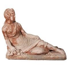 French Terra Cotta Reclining Female Sculpture, circa 1830