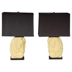 Pair Of Deco Horse Head Lamps