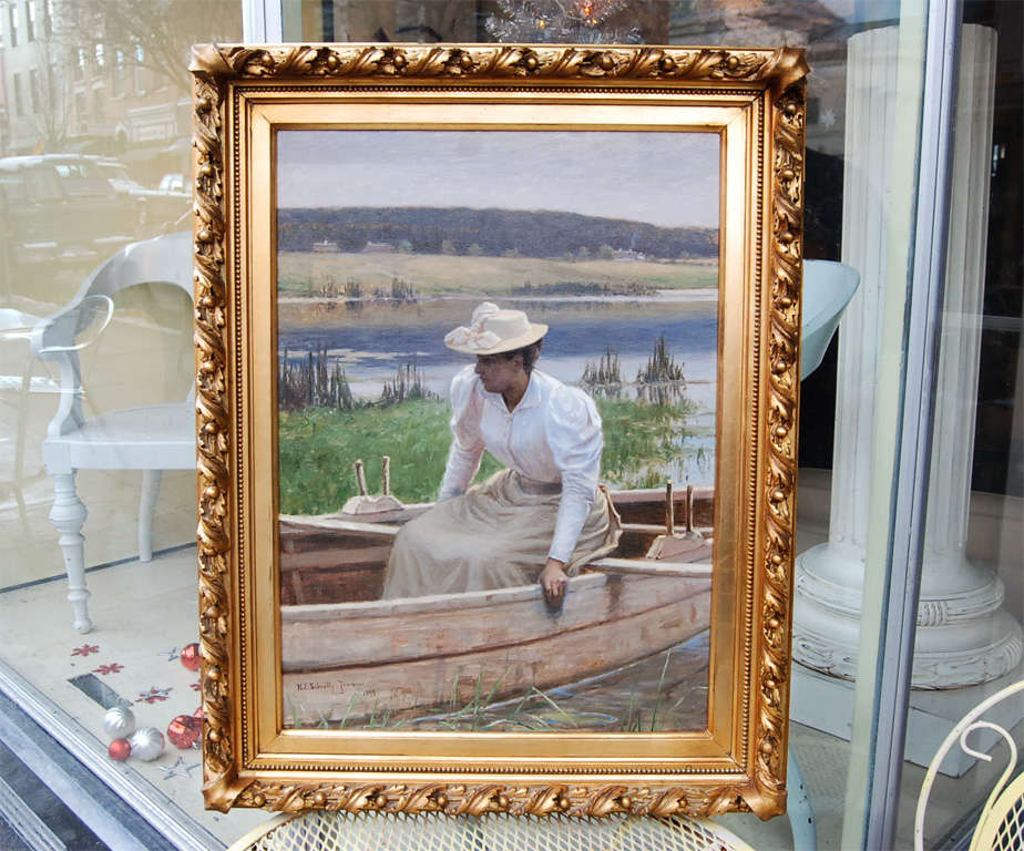Classic Danish 19th century painting of a lady in summer attire on a lake in a rowboat by Niels Schiottz-Jensen signed and dated 1894. Schiottz-Jensen was born in Copenhagen in 1855, travelled in France and Italy, studied in Paris and exhibited for