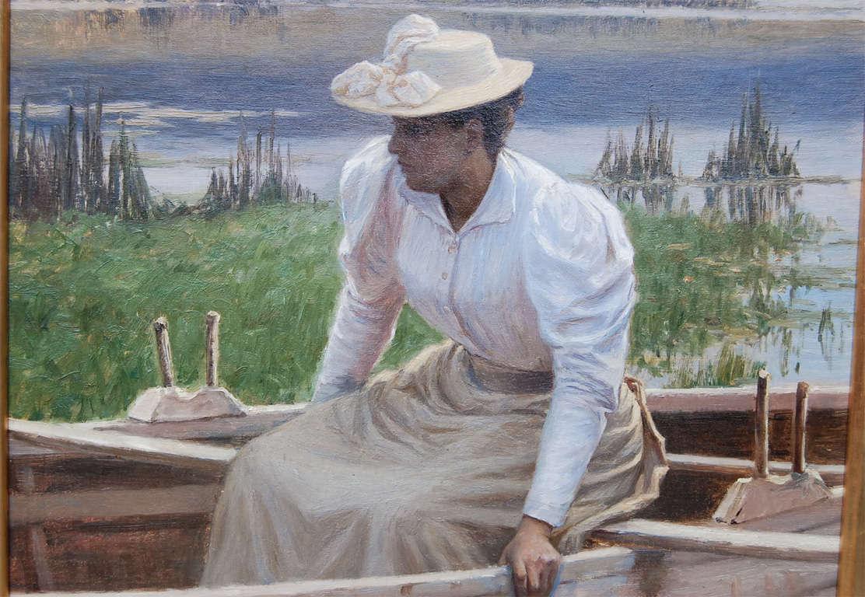 Art Nouveau Lady in Rowboat by Niels Schiottz-Jensen For Sale