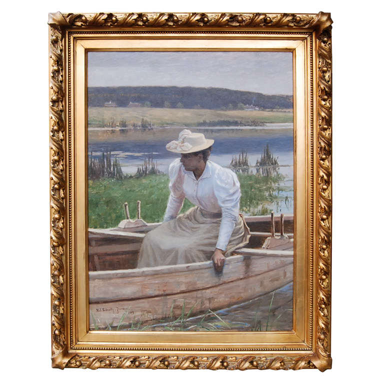 Lady in Rowboat by Niels Schiottz-Jensen For Sale