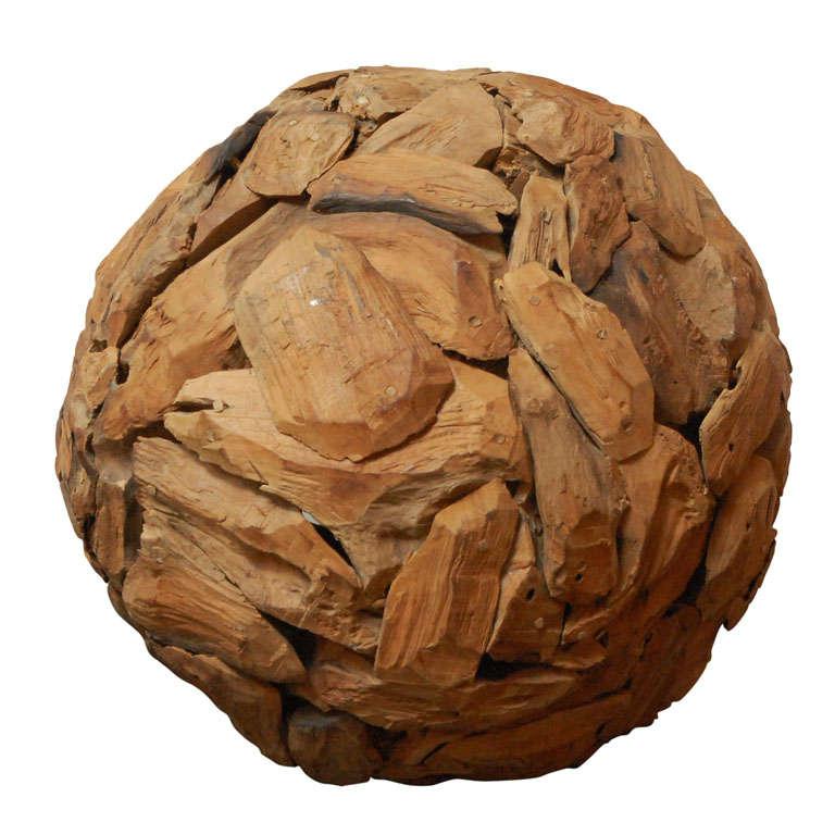 Large wood sphere sculpture at 1stdibs