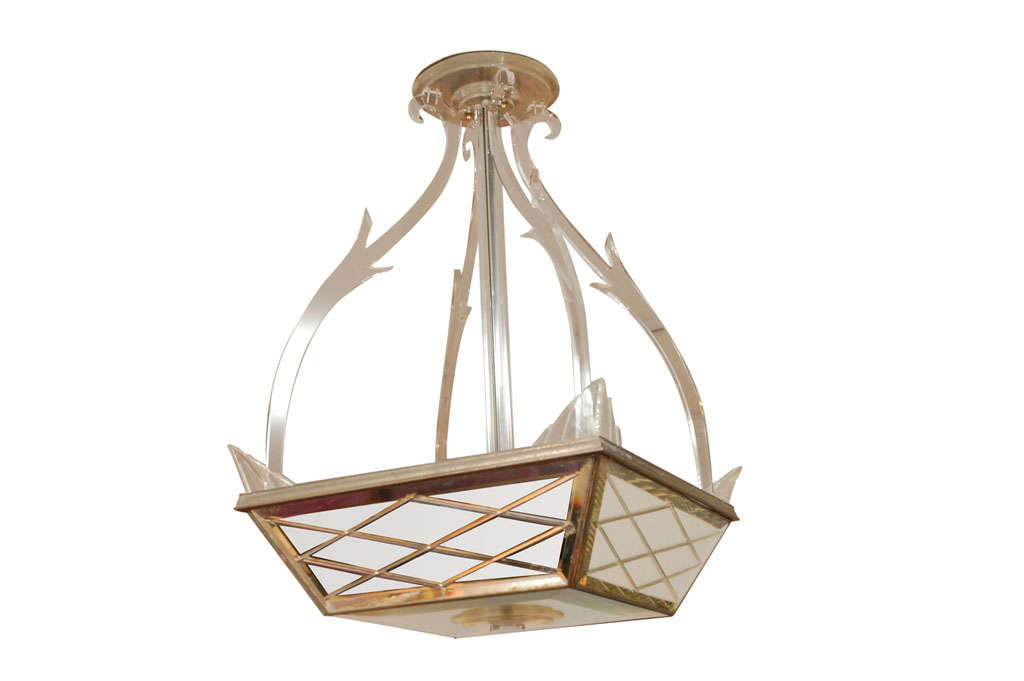 Vintage Lucite and Mirror Chandelier from the Casa