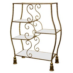 Hollywood Regency Style Gilt Brass Etagere by Jansen