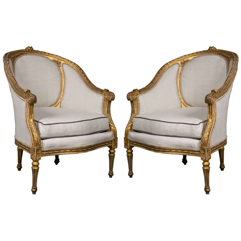 Pair of french louis xiv style bergere chairs at 1stdibs