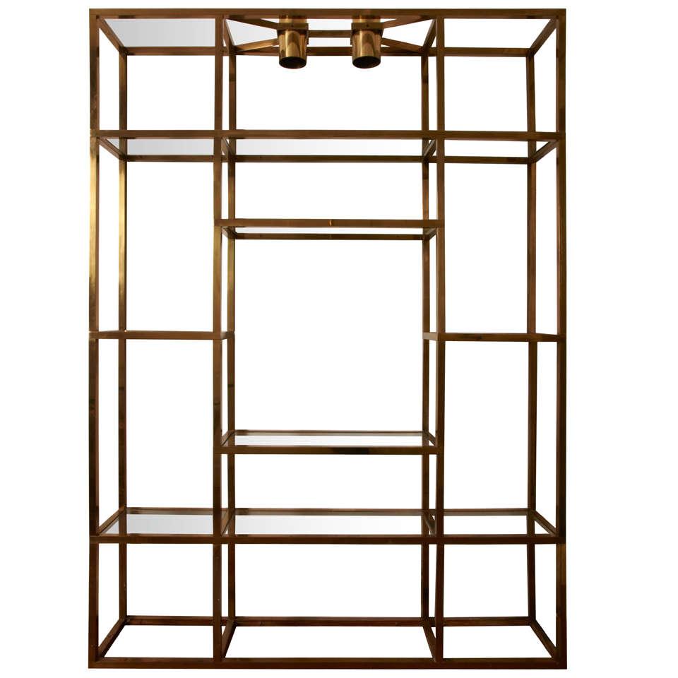 large gilt brass shelves or bookcase . large gilt brass shelves or bookcase at stdibs