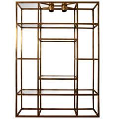 Large gilt brass shelves or bookcase.