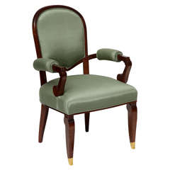 Fine and Rare Art Deco Armchair by Jules Leleu
