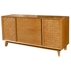 Paul Laszlo Basket Weave Front Credenza For Brown Saltman