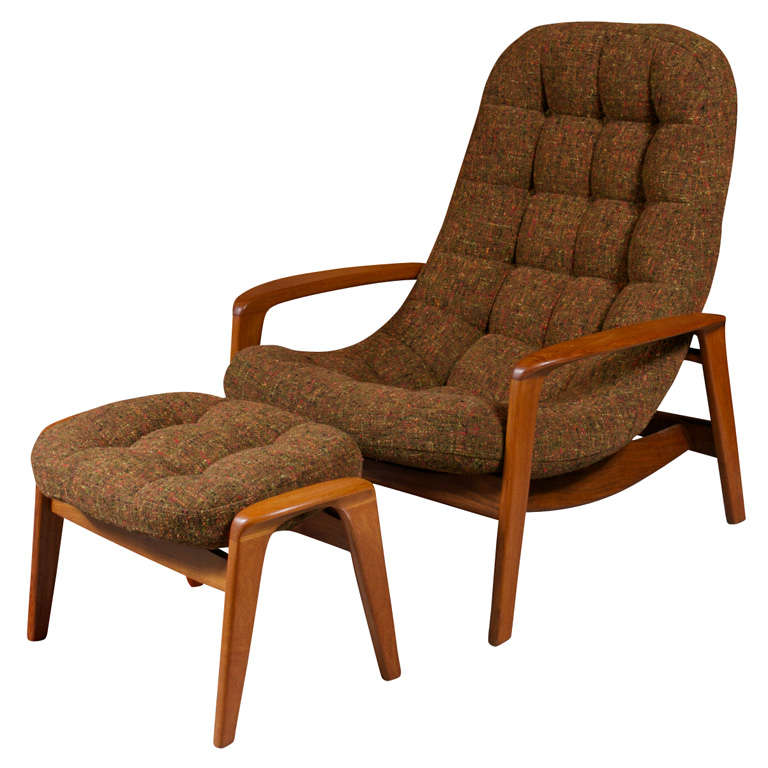 scandinavian danish modern lounge chair ottoman