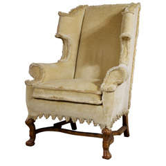 William and Mary Revival Style Wing Chair