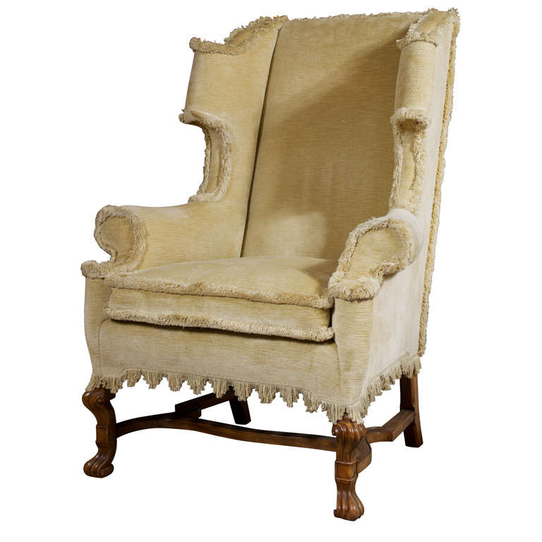 William And Mary Revival Style Wing Chair At 1stdibs