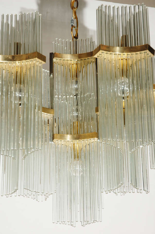 Italian brass and glass rod chandelier by gaetano sciolari at 1stdibs a vintage italian brass and glass rod chandelier by sciolari has 21 light bulb sockets audiocablefo