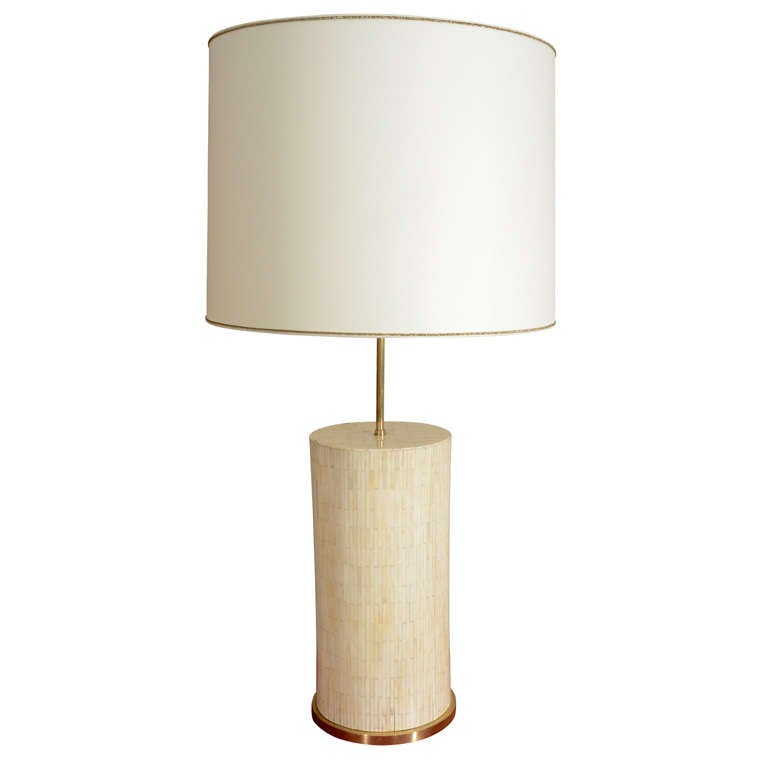 Large Scaled Table Lamp, Handcrafted from Bone 1