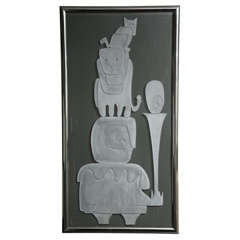 1970s Framed Etched Glass Panel Signed WP Katz