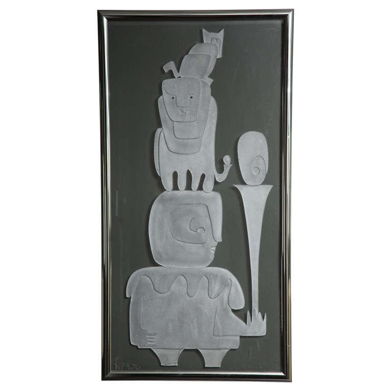 1970s Framed Etched Glass Panel Signed WP Katz