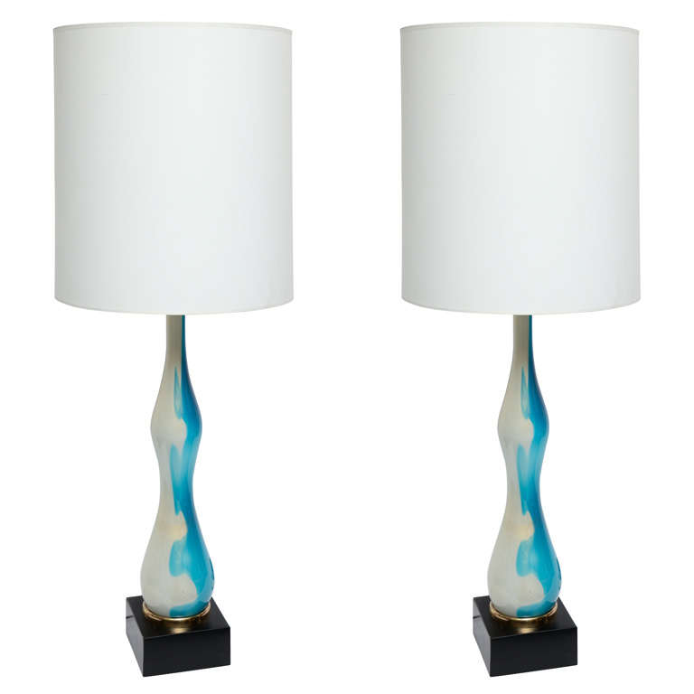 Pair of 1950s Italian Art Glass Table Lamps by Seguso For Sale