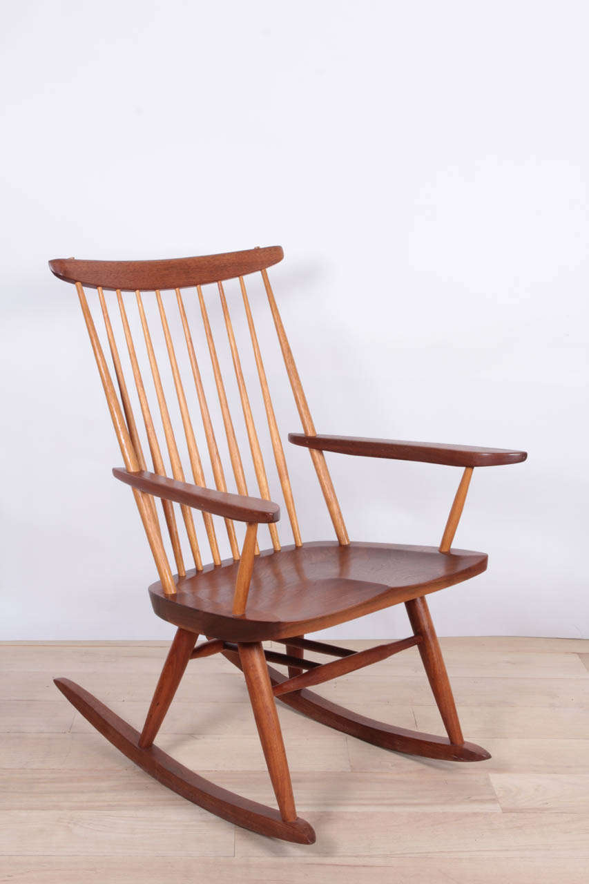 Rocker in walnut with hickory spindles.  Signed with provenance.