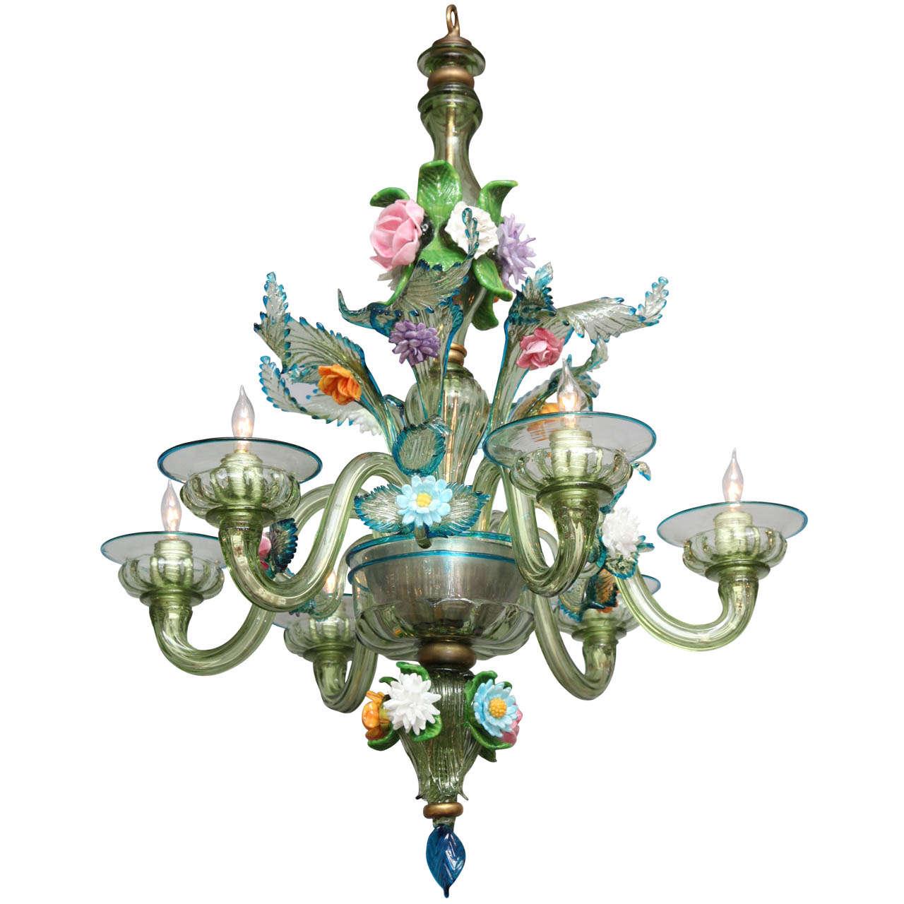A Six Light Italian Murano Glass Chandelier At 1stdibs