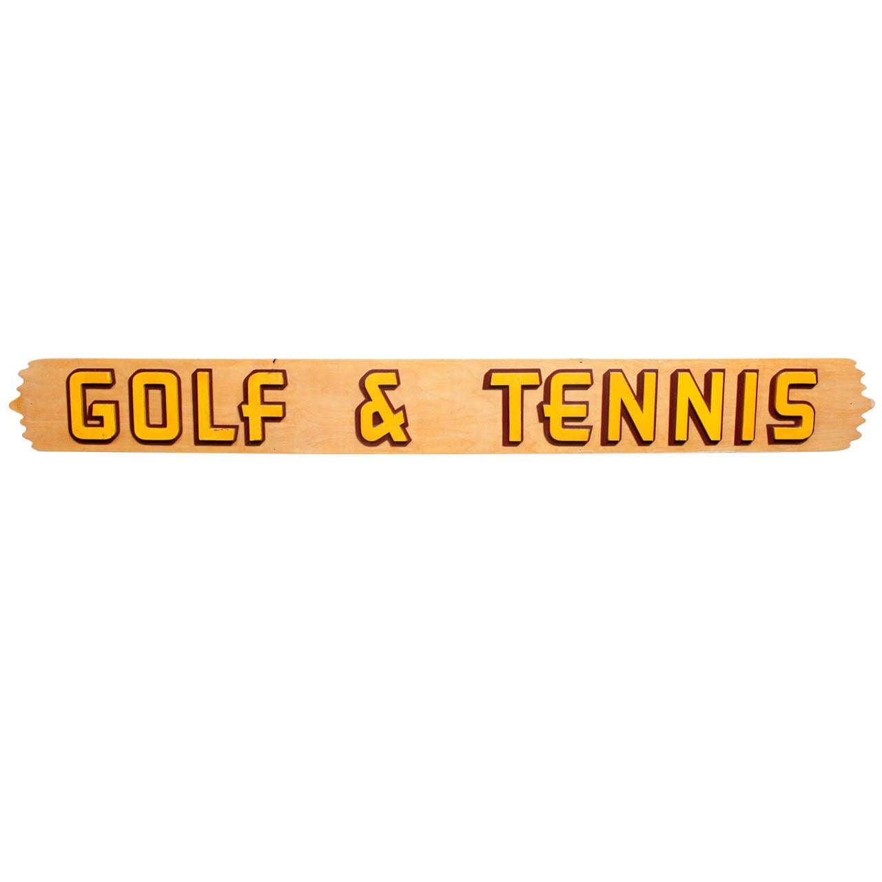 American Mid-Century Wooden Sign: Golf & Tennis