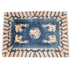 19th Century Antique Chinese Dragon Carpet