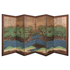 Edo Period (1603-1868) Hammamatsu Japanese Six-Fold Standing Screen