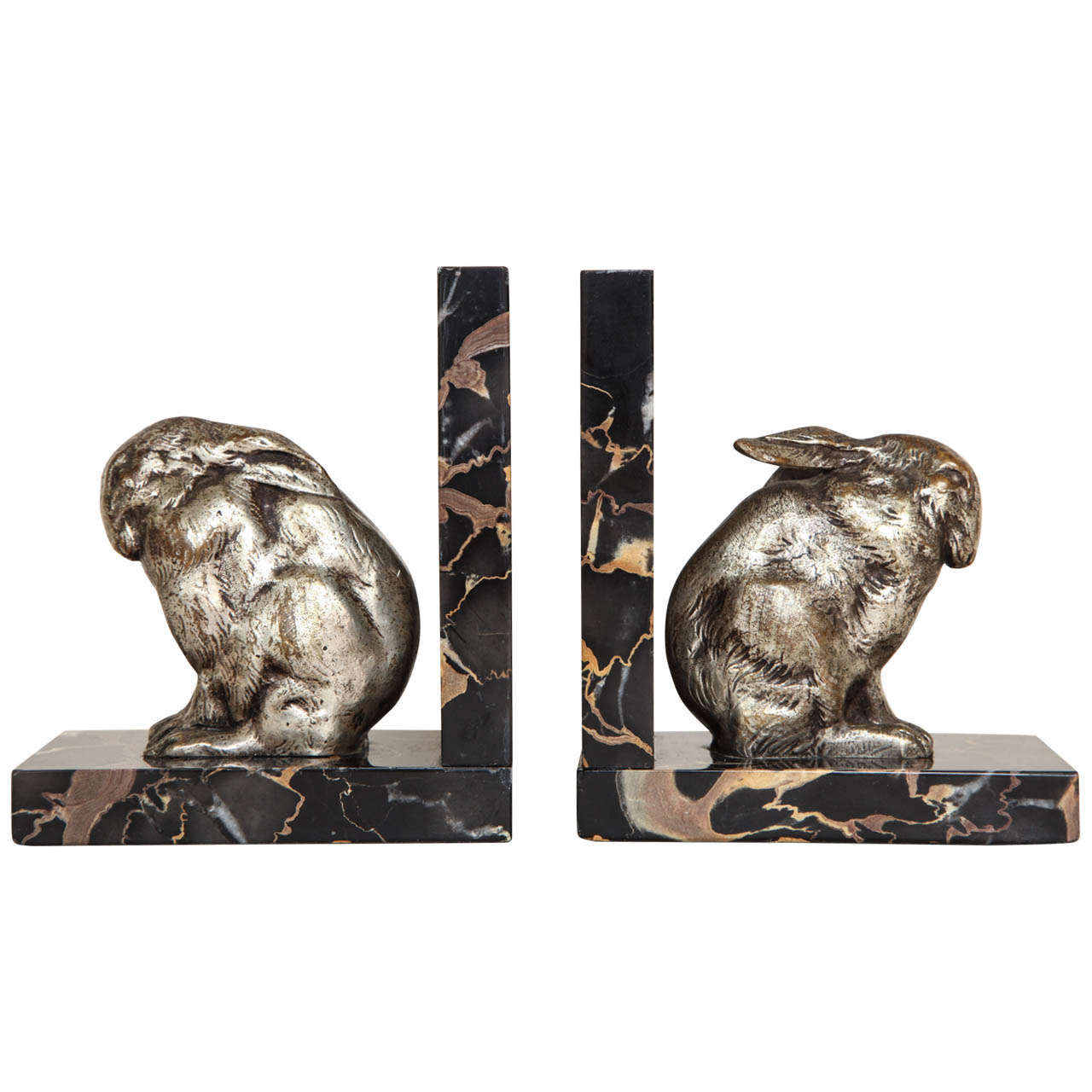art deco pair of silvered bronze and portor marble bookends at stdibs - art deco pair of silvered bronze and portor marble bookends