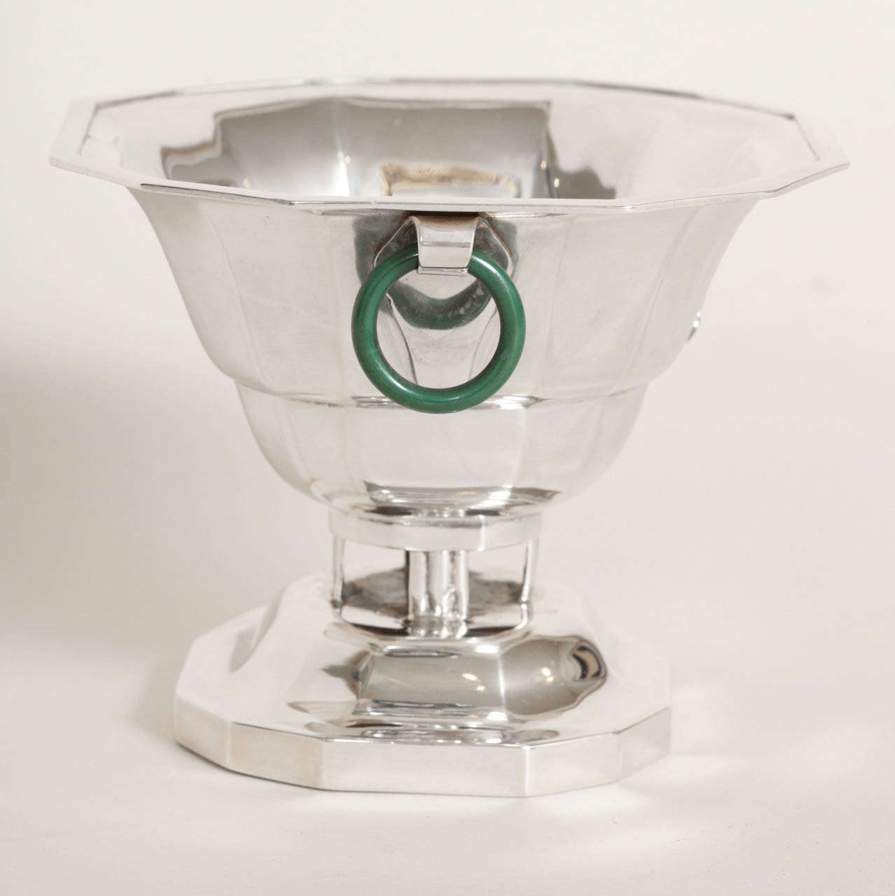 Jacques & Pierre Cardeilhac French Art Deco Sterling Silver and Jade Polo Trophy For Sale 1