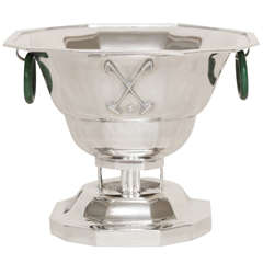 Jacques & Pierre Cardeilhac French Art Deco Sterling Silver and Jade Polo Trophy
